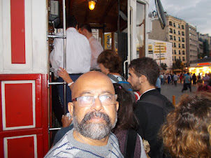 """Boarding the historical vintage single coach """"T-2 Tunel Tram"""" at Taksim."""