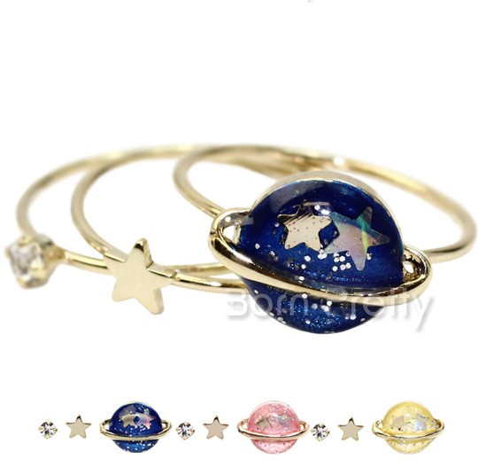 3Pcs/set Universe Star Mini Rhinestone Midi Ring Set review