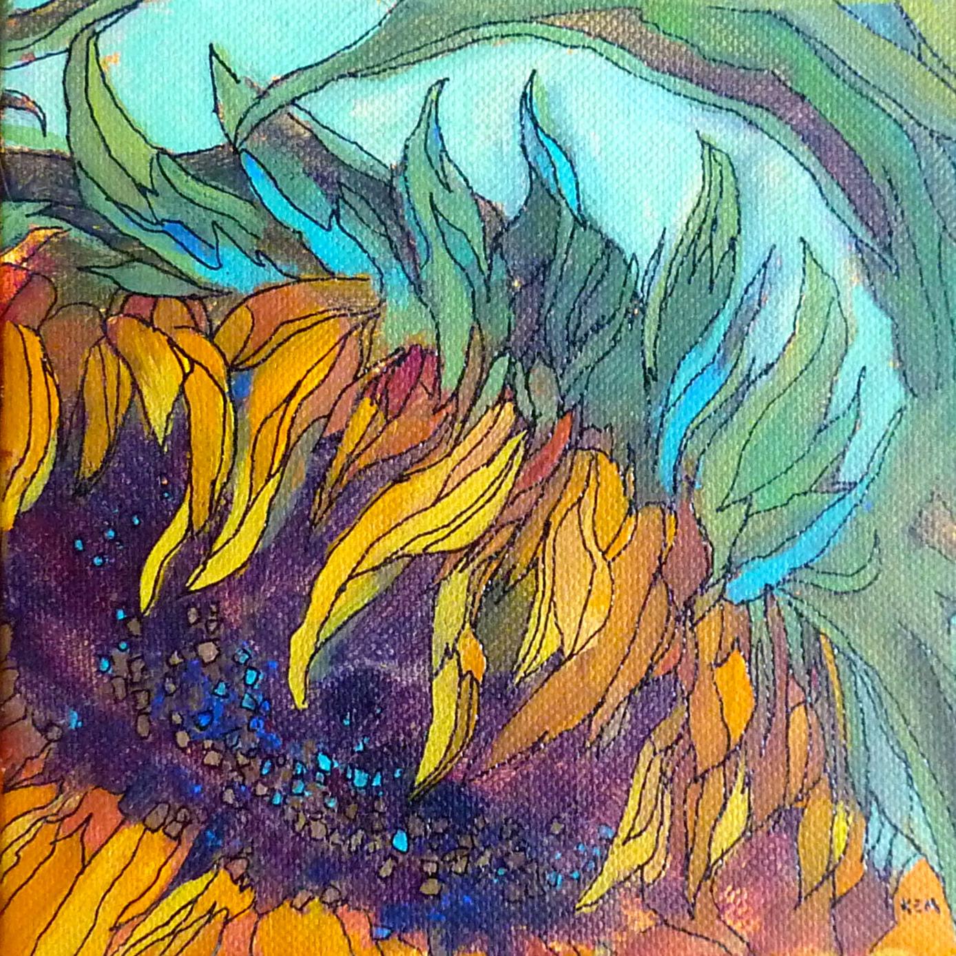 Painting my world sunflower acrylic painting with ink lines for Painting with acrylic paint