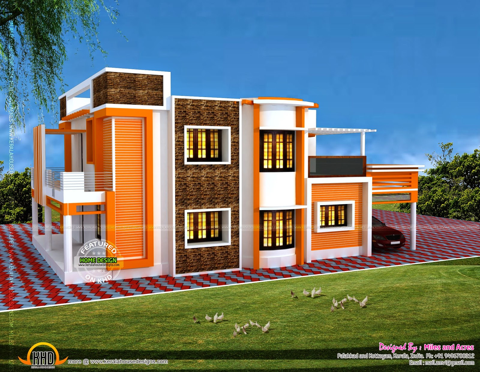 Floor plan of modern flat roof house kerala home design for Modern flat roof house
