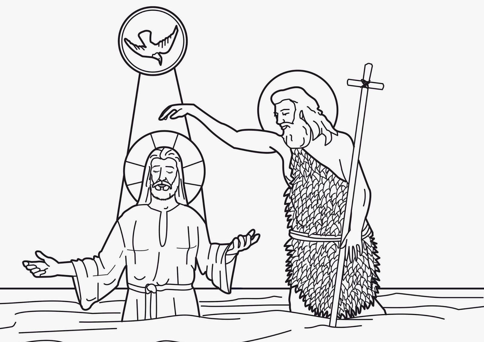 Imagenes Cristianas Para Colorear: Bautismo de Jesus Para Colorear