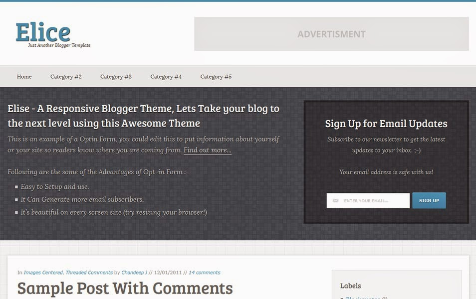 Professional Responsive Blogger Template Elice