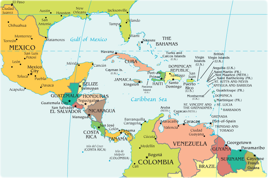 Mexico And Central America Political Map