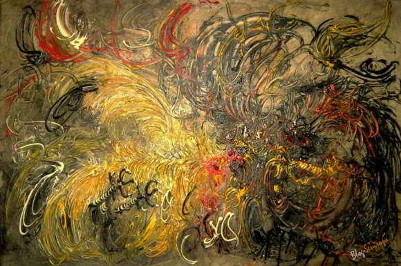 Lukisan Affandi Ayam Tarung