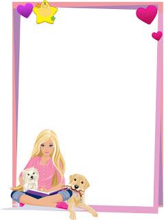 Caratula vertical para cuadernos de niña de Barbie