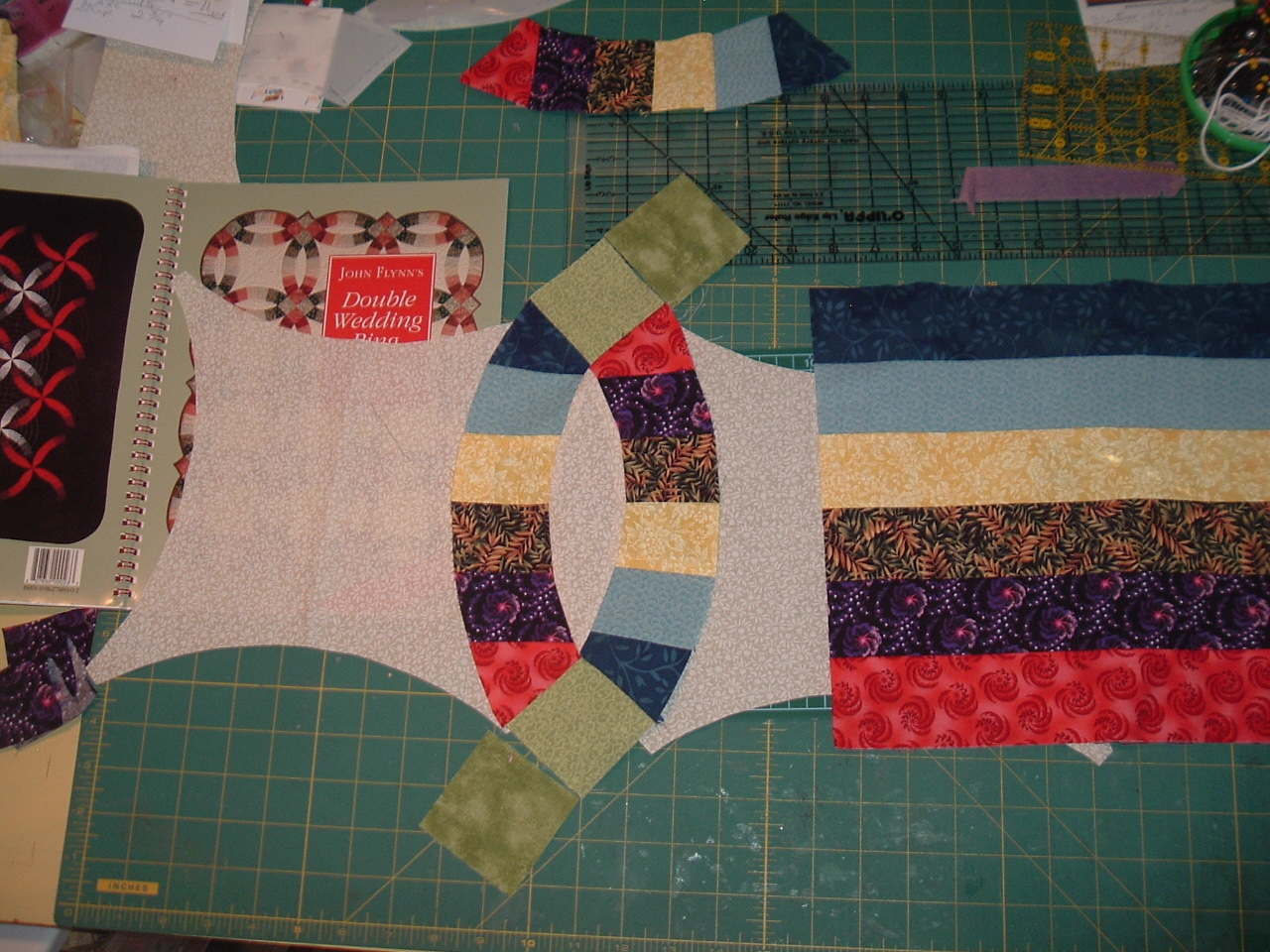 With Needle And Thread I Will Travel Far Double Wedding Ring Quilt