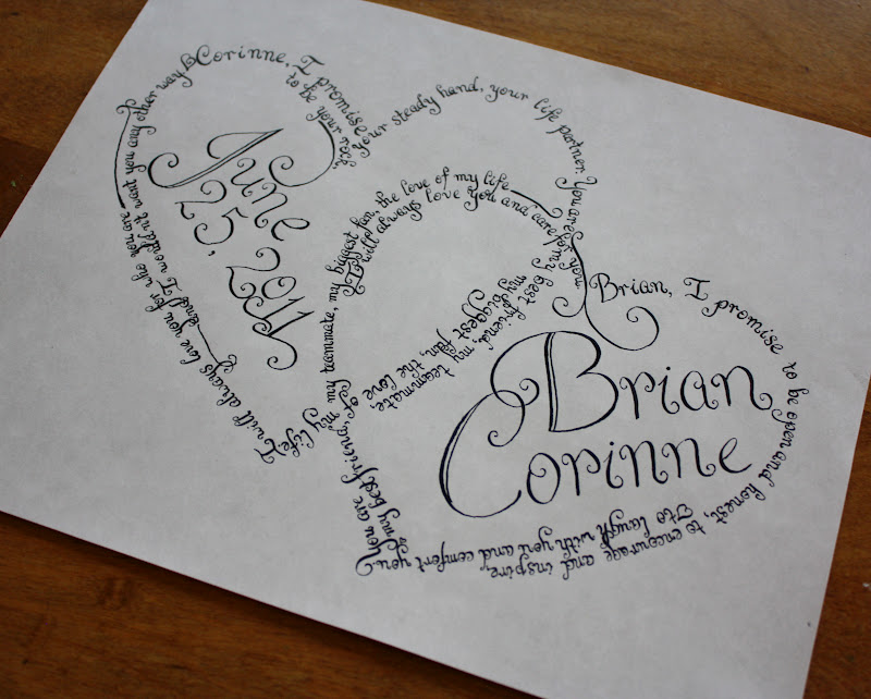 A Homemaker 39 S Journal Custom Wedding Vow Calligraphy