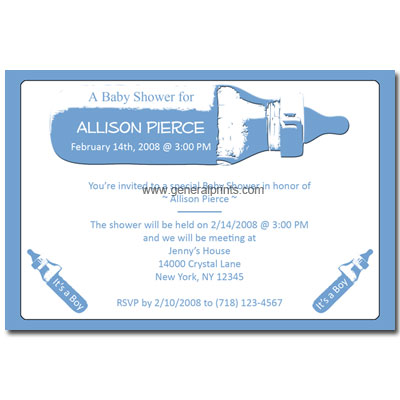 Blue Bottle Baby Boy Baby Invitations