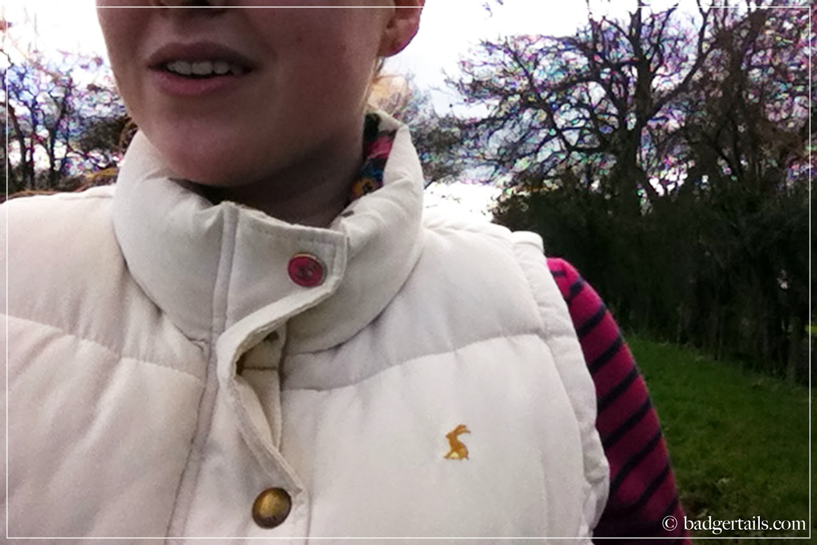 woman wearing white joules gilet and stripy joules top in english countryside field