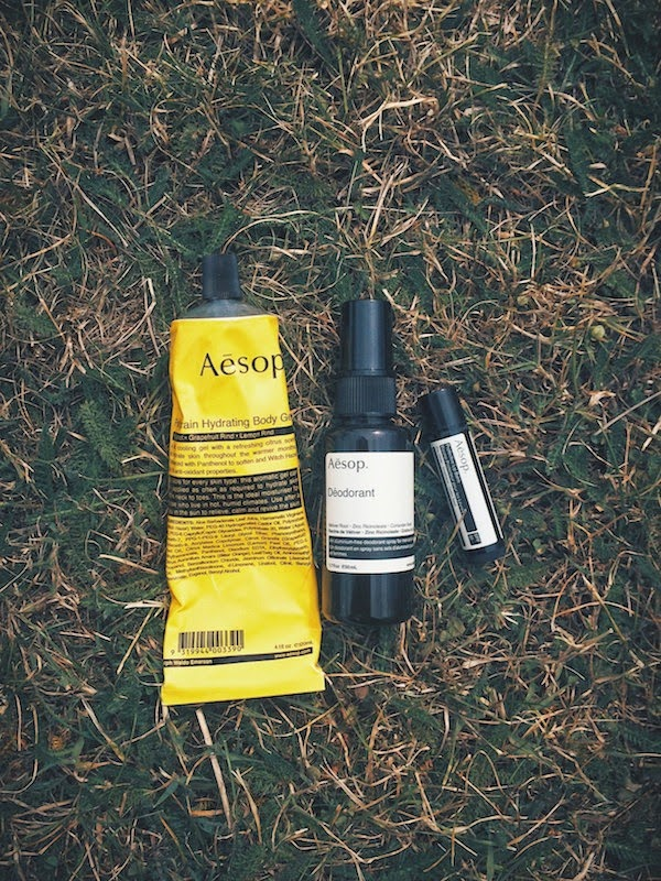 AESOP Skincare Petitgrain Hydrating Body Gel - AESOP Deodorant - AESOP lipbalm