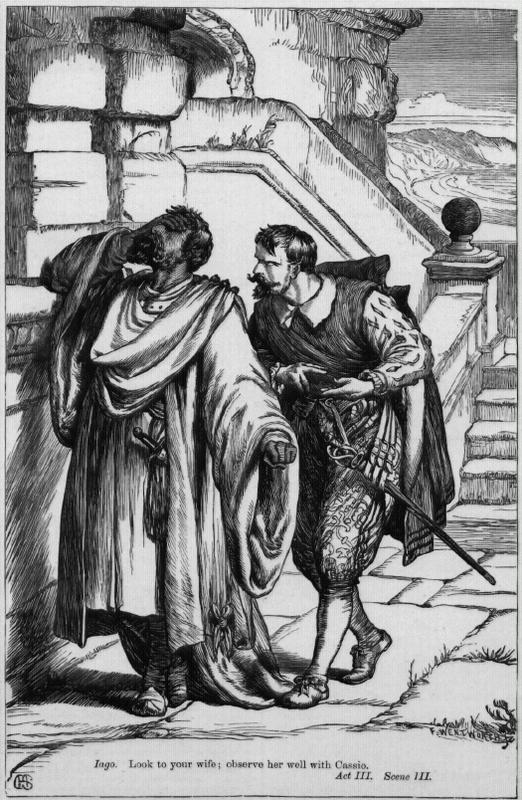 Etching of Iago planting suspicion in Othello's mind that his wife is cheating with Cassio.