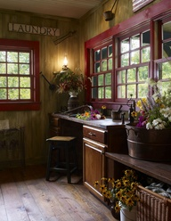 An elegant, old-world style makes even a laundry room appealing.