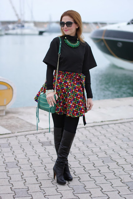 letthemstare.com, Let them stare bow skirt, over the knee boots, colorful skater skirt, Fashion and Cookies, fashion blogger