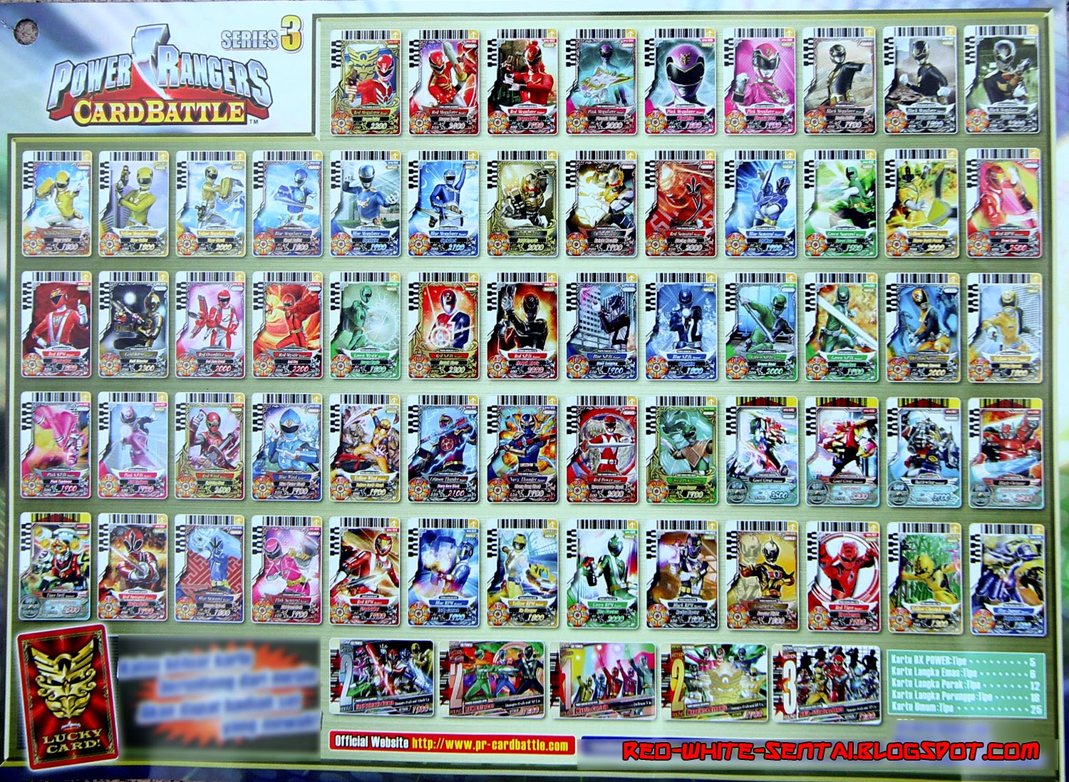 and white sentai power ranger card battle series 3 card list