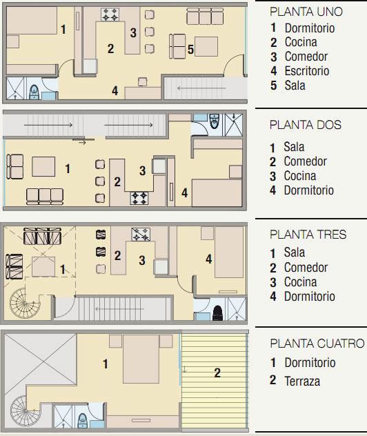 PLANOS DE 4 PLANTAS DENTRO DE QUINTA via www.planosdecasas.blogspot.com