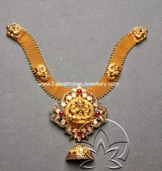 diamond temple jewellery necklace design
