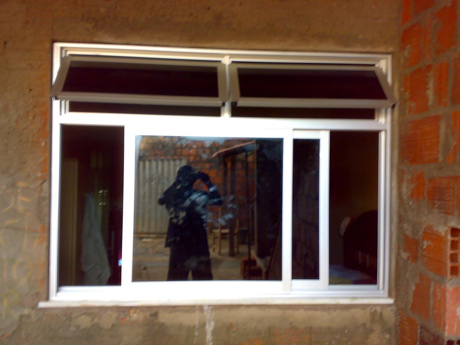 #6F4020 Janela alumínio fosco com maxi ar vidro com película fume 10 Janelas De Vidro Com Aluminio Fosco