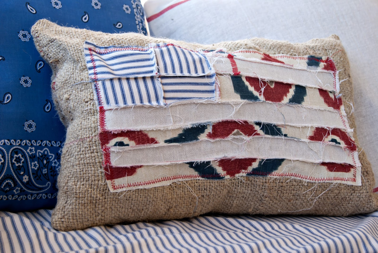 Scrappy Flag and Burlap Pillow
