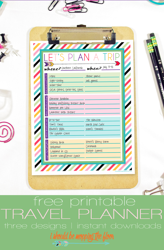 Free Printable Travel Planner | Using this working printable to brainstorm and plan out a fabulous vacation with input from the entire family.