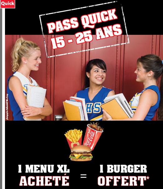 Pass Quick 15-25 ans: 1 menu XL acheté = 1 burger offert