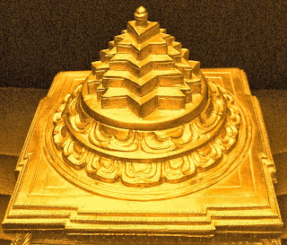 шри янтра чакра с маха меру, объемная 3д модель отлитая в бронзе