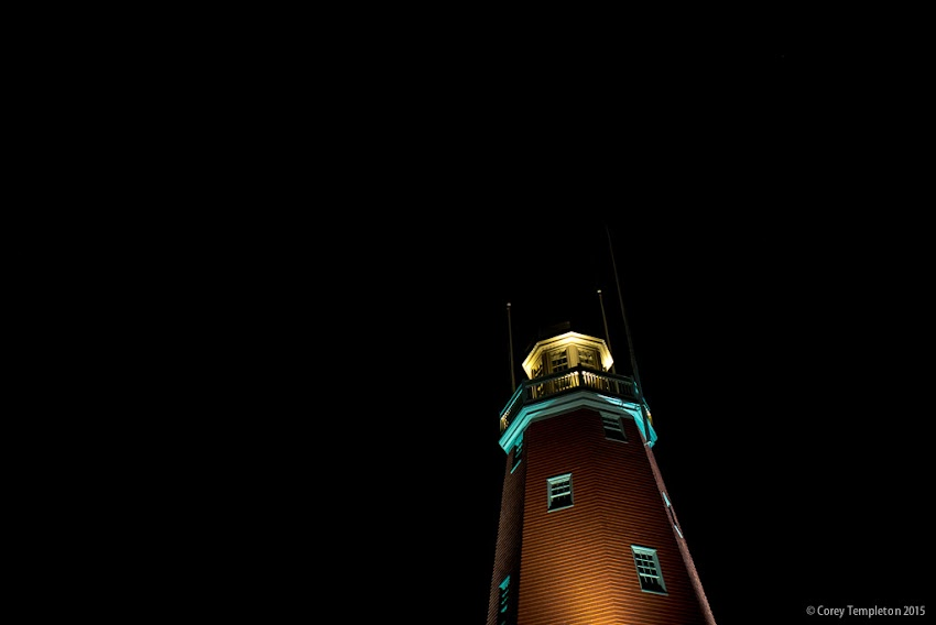 October 2015 Portland, Maine USA Photo by Corey Templeton. Looking up at the Portland Observatory, set against a particularly dark sky.
