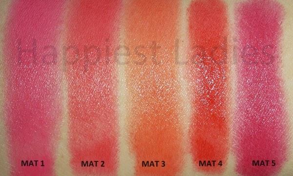 Bold matte MAT Lipstick swatches
