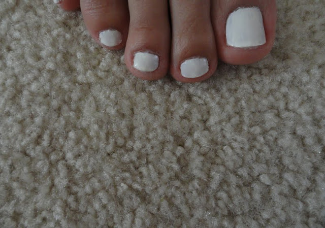 white nail polish pedicure