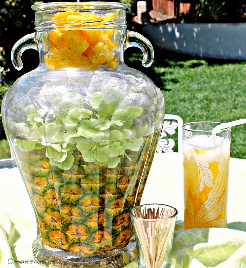 Pineapple centerpiece for outdoor setting at One More Time  Events.com