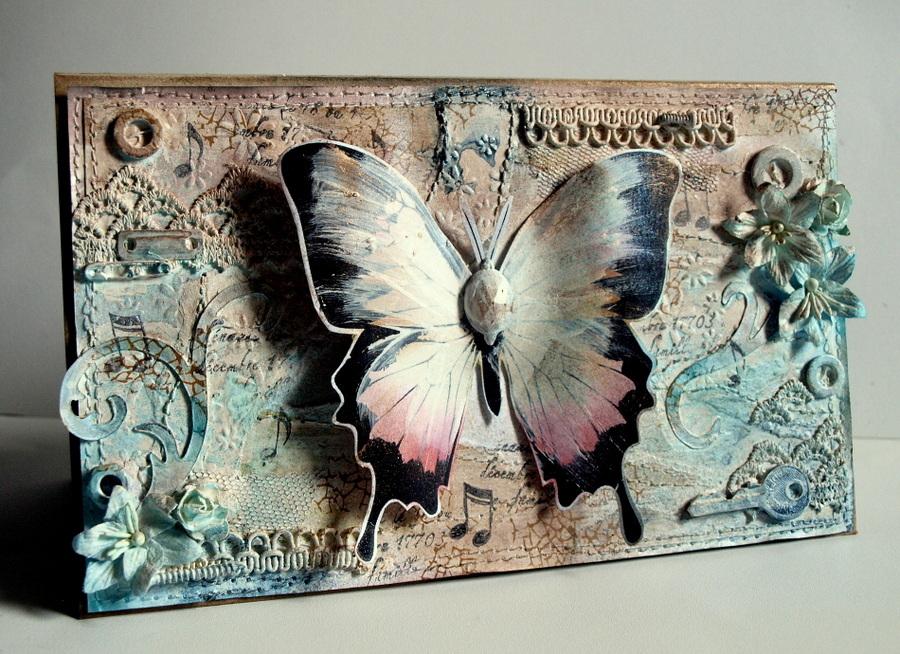 mix media butterfly-by Ewa Jarlińska_Sizzix BigZ Die - Tim Holtz - Elegant Flourishes