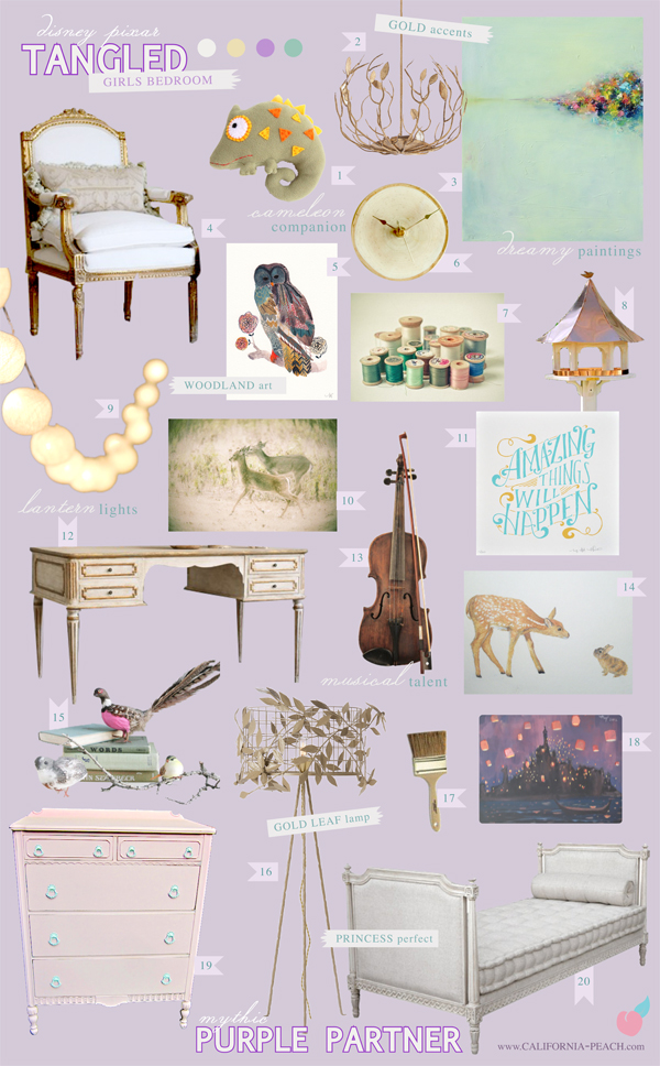 California peach tangled girls bedroom for Peach and gold bedroom