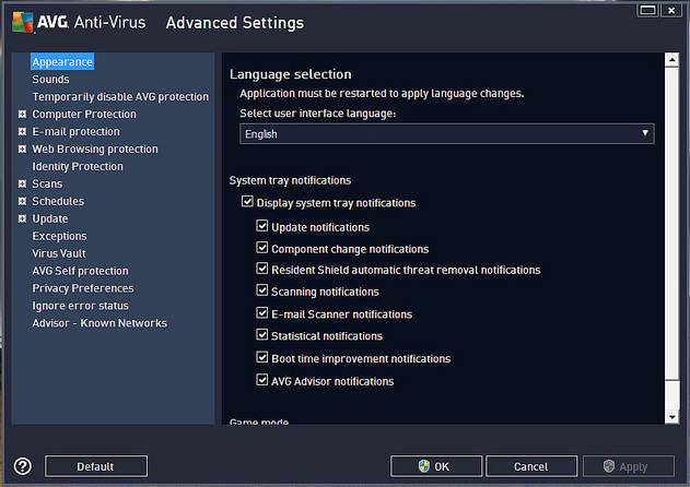 AVG Antivirus 2013 Pro - Settings