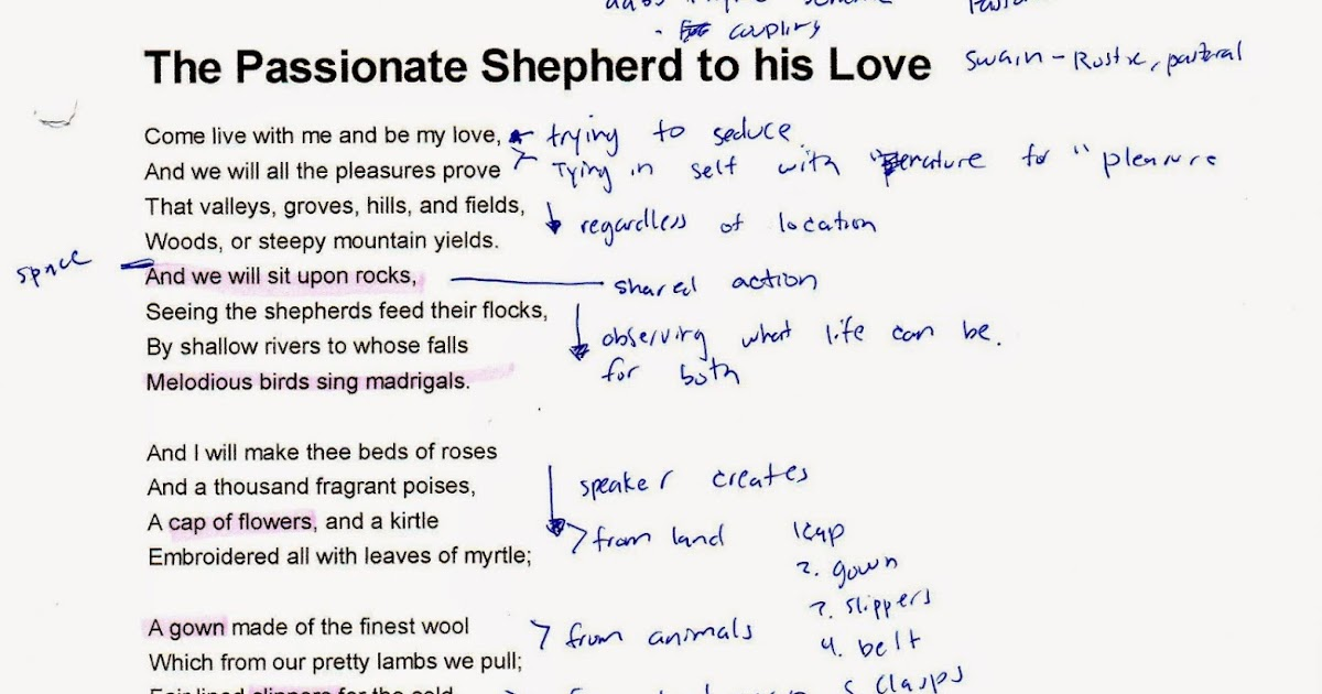 analysis the passionate shepherd to his love The passionate shepherd to his love paraphrase come live with me and be my love and we will all the pleasure prove.
