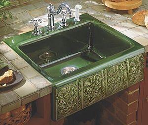 fregadero cerámica verde con relieve