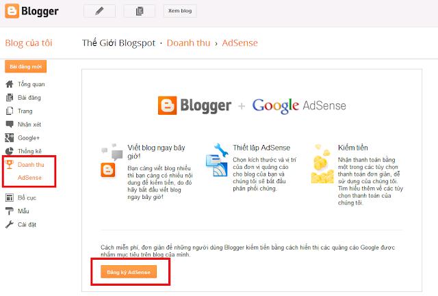 Sau khi kích hoạt Google AdSence trên Blogspot