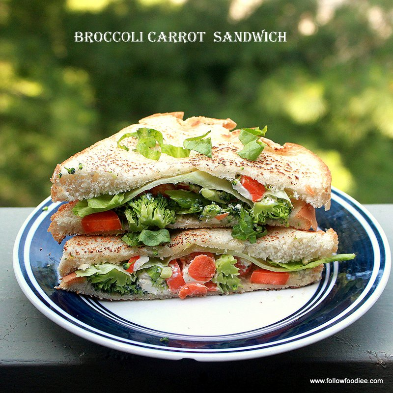 Easy sandwich recipe made with carrots and Broccoli
