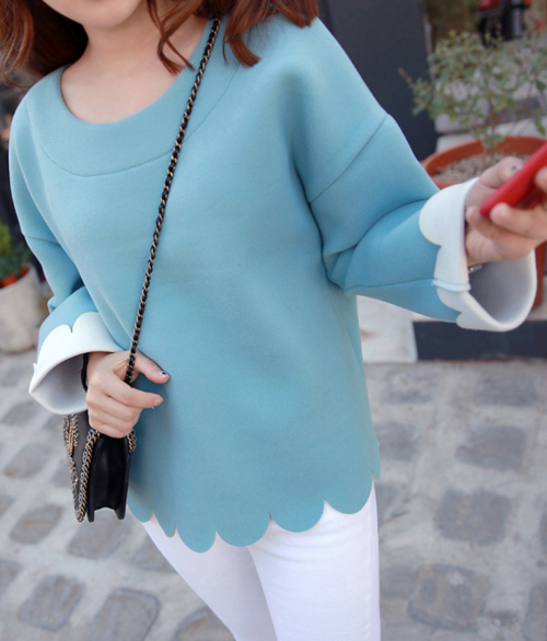 Scalloped Long Sleeve T-Shirt
