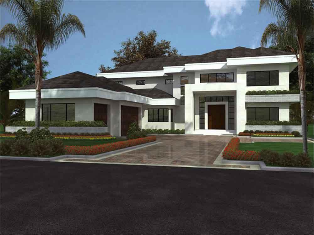 Planos y fachada de una casa habitaci n moderna de 2 for Casas modernas 3 recamaras