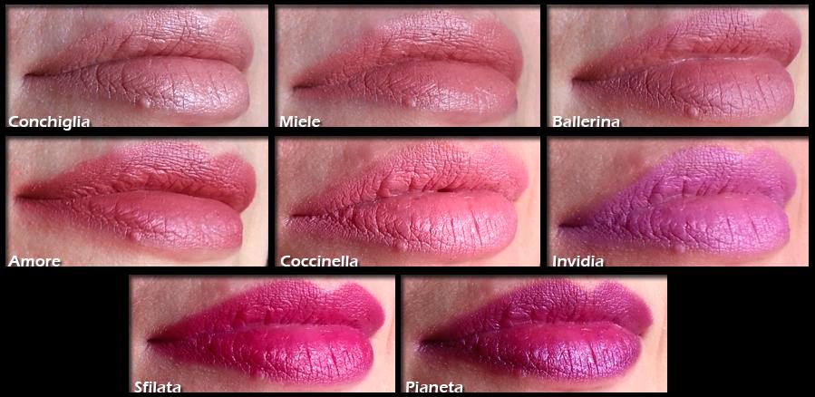 Neve Cosmetics - Swatch su labbra di Conchiglia Nude; Miele Rose; Ballerina Pink; Amore Pink; Coccinella Pink;  Invidia Violet; Sfilata Amaranth; Pianeta Purple