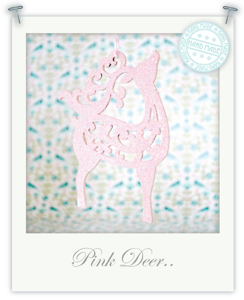 Pink glittery deer ornament by Torie Jayne