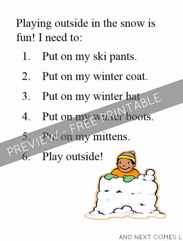 Free printable social story for learning to get dressed for winter - perfect for kids with autism, sensory processing disorder, and hyperlexia from And Next Comes L