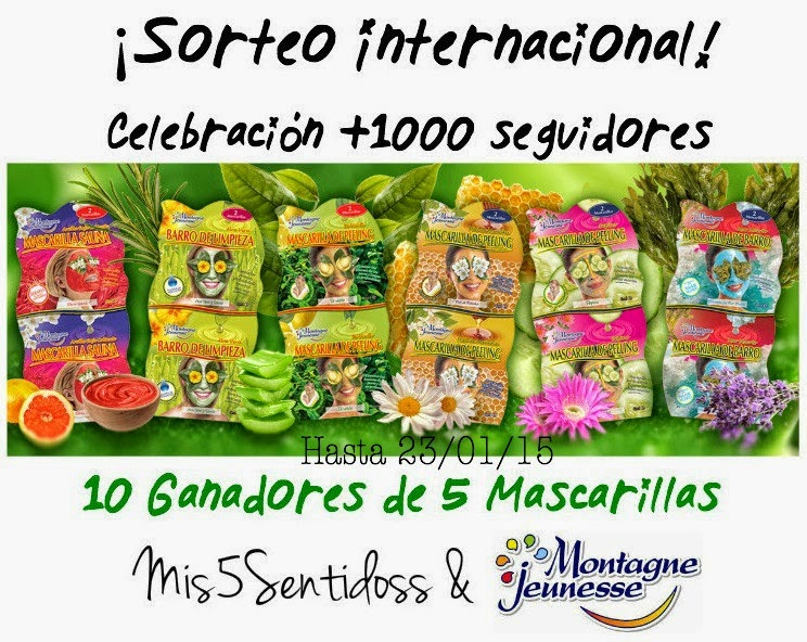 sorteo internacional celebracion 1000 seguidores con mis 5 sentidos