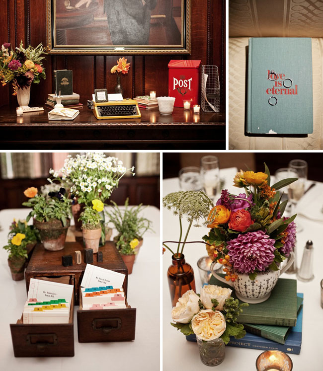 Greer loves library wedding ideas centerpieces guestbooks
