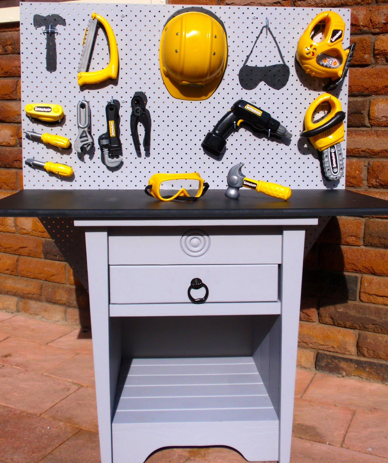 repurposed furniture for kids. Bedside Table Repurposed Into Toy Tool Work Bench!! Furniture For Kids P