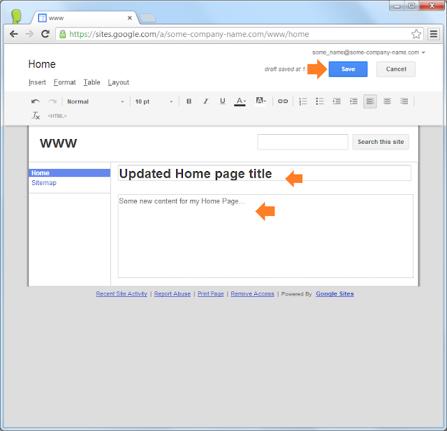 Google Sites: add some content and one more page
