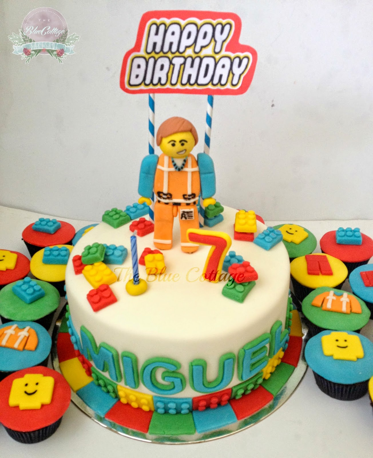 The Blue Cottage Fondant Birthday Cake And Cupcakes Emmet Lego Movie