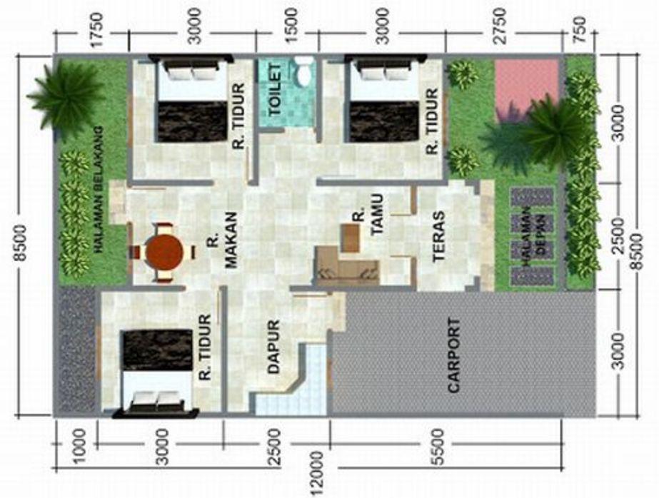bentuk denah rumah minimalis type 60 unik