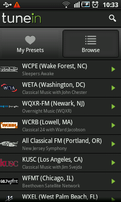 Android Radio - Classical Music Stations in US