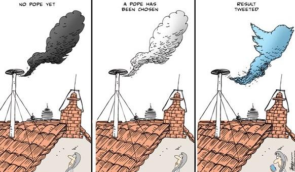Twitter,Political Cartoon Pope,Political Cartoon Twitter