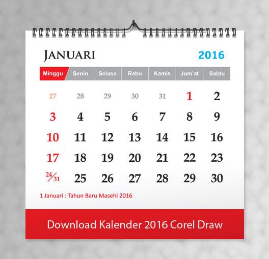 Download Kalender 2016 Lengkap Corel Draw Vector | Cetak Kalender